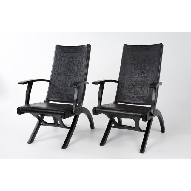 1970s Vintage Angel I. Pazmino for Muebles De Estilo Leather Armchairs- A Pair For Sale - Image 13 of 13
