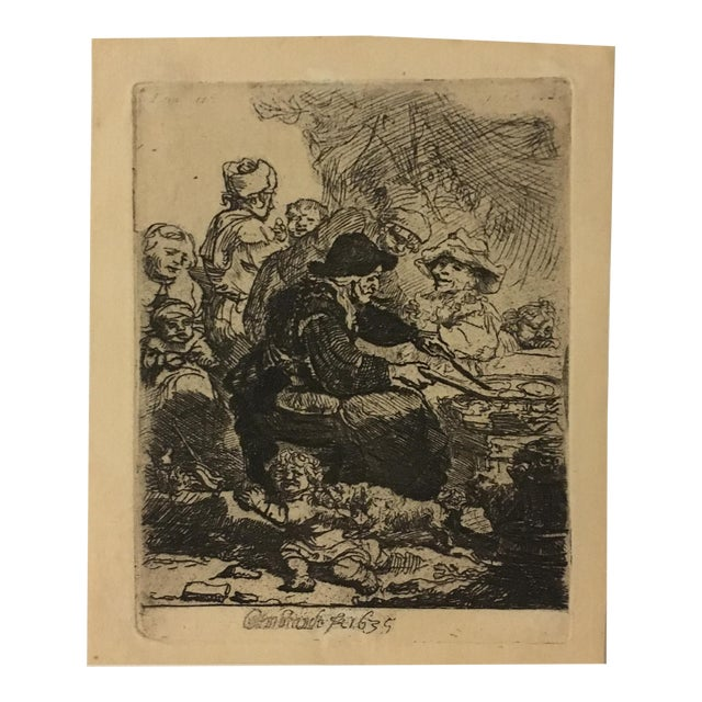 "Rembrandt ""The Pancake Woman"" Original Etching - Image 4 of 9"