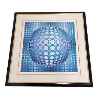 Vintage 1970's Victor Vasarely VI-Va Series Hand Signed Print For Sale