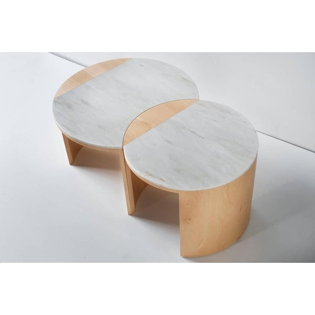 Contemporary Gibbous Coffee Table in European Beech With Witch Hazel Corian. For Sale In New York - Image 6 of 8