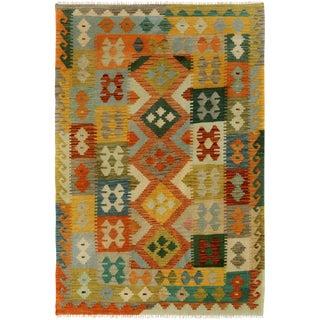 Kilim Arya Chaniel Ivory/Gray Wool Rug -4'2 X 6'1 For Sale