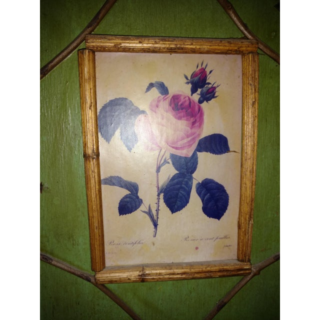 Green Antique Chinoiserie Green Floral Bamboo Table Screen For Sale - Image 8 of 9