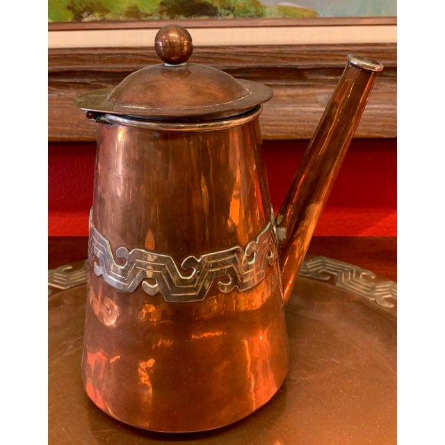 Mid-Century Modern Artesanias Mexico Copper & Silver Coffee Set of 4 For Sale - Image 3 of 13