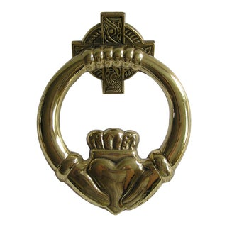 Vintage Irish Claddagh Brass Doorknocker, Country Home Talisman