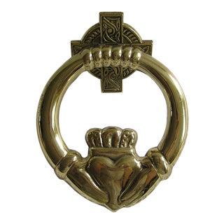 Vintage Irish Claddagh Brass Doorknocker, Country Home Talisman