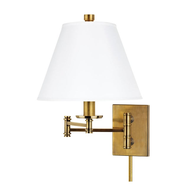 Claremont 1 Light Wall Sconce W/ White Shade And Plug - Aged Brass For Sale