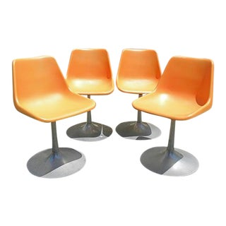 Vintage Mid Century Rare John Stuart Plastic Molded Tulip Chairs - Set of 4 For Sale