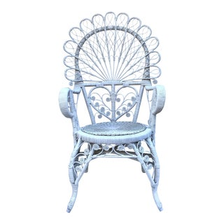 Vintage Rattan White Peacock Chair For Sale