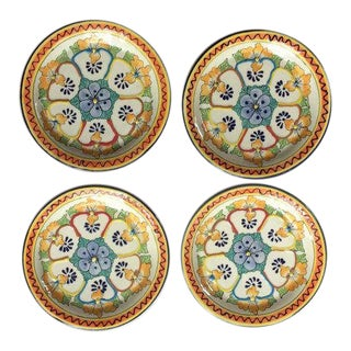 Vintage Mexican Talavera Pottery Hand Enameled Plates - Set of 4