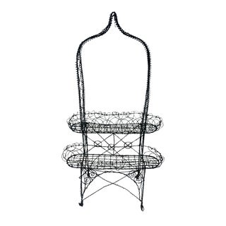 Antique Victorian Bent Wire Plant Stand For Sale