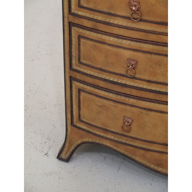 Art Deco 1990s Art Deco Maitland Smith Bow Front Leather Bachelor Chest For Sale - Image 3 of 13