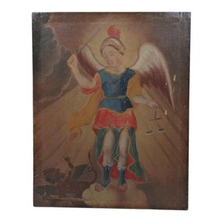 Early 19th Century Oil Painting of St Michael Slaying the Serpent For Sale