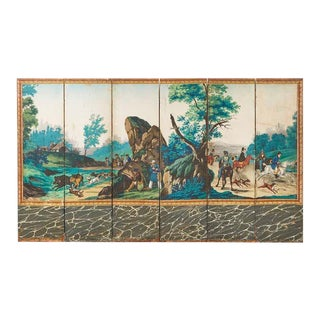 Zuber Six Panel Wallpaper Screen the Hunting Landscape For Sale