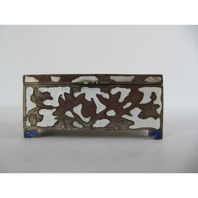 Beautiful cloisonné enamel two side stamp box. Marked on the bottom China.