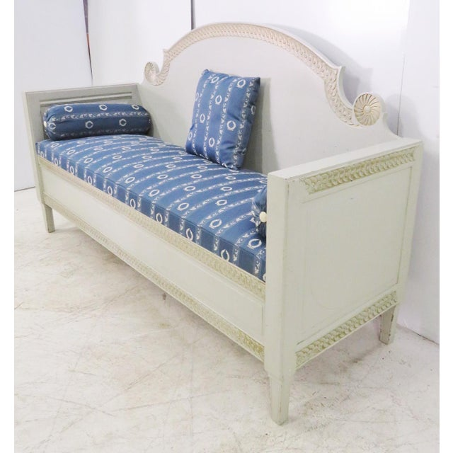 Shabby Chic Swedish Gray Carved Sofa For Sale - Image 4 of 10