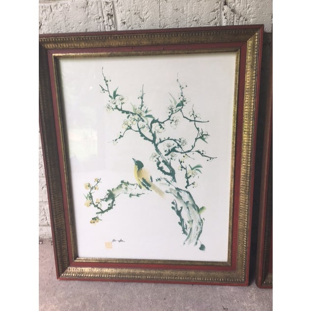 Vintage Pair of Asian Watercolor Bird Paintings by artist Ho Chu. Frames,  glass,