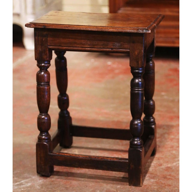 19th Century French Louis XIII Carved Chestnut Country Stool From Normandy For Sale In Dallas - Image 6 of 7