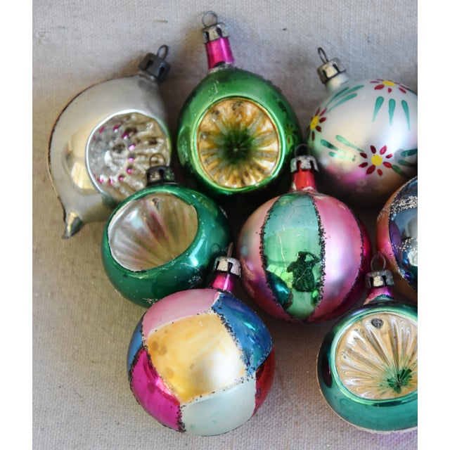 Mid 20th Century Fancy Midcentury Vintage Colorful Christmas Tree Ornaments W/Box - Set of 12 For Sale - Image 5 of 9
