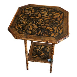 1900s Victorian Decoupaged Table With Shells For Sale