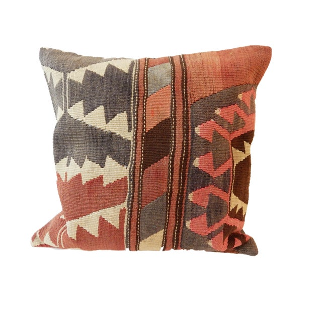 Old Caucasian Tribal Kilim Pillow - Image 8 of 9