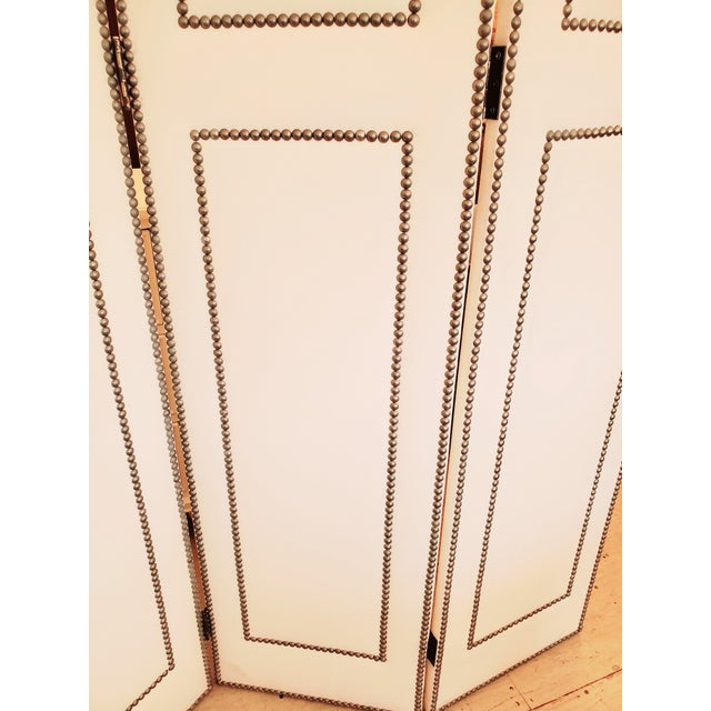 Metal Upholstered 4 Panel Screen With Nailheads For Sale - Image 7 of 11