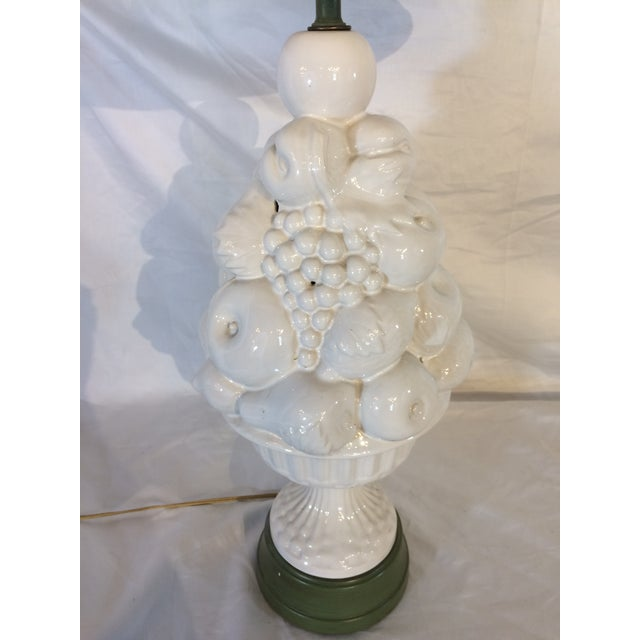 Mid-Century Modern White Lamps with Fruit and Green Details - A Pair For Sale - Image 3 of 7