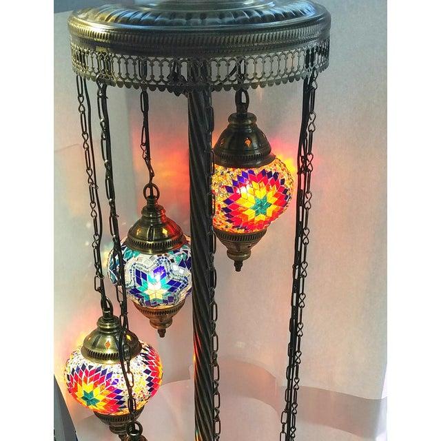 Brass Plated 7 Globe Tile Art Lamp - Image 6 of 6