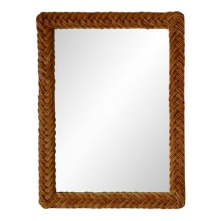 Hollywood Regency Woven Rattan Wall Mirror For Sale