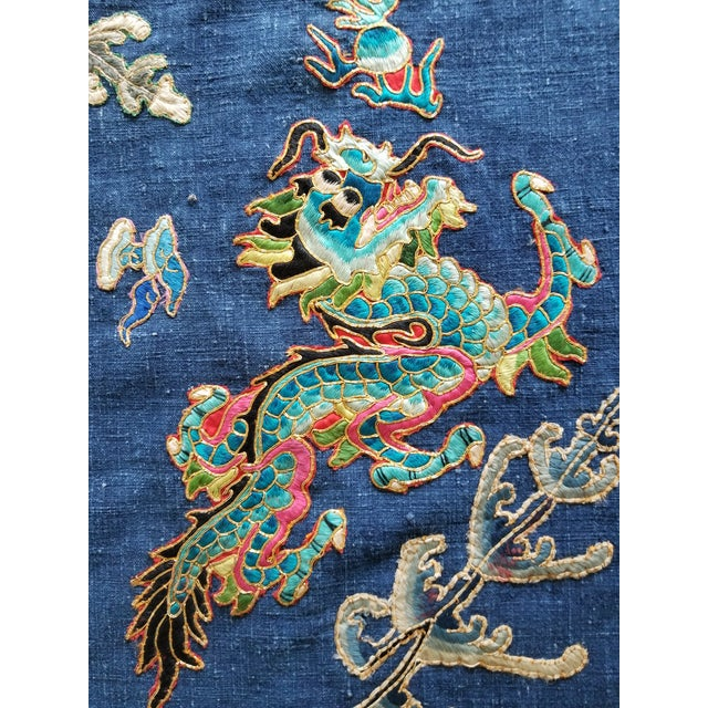 A vintage circa 1920's opera robe textile with ragon design. Salvaged from an original gown used by a Chinese opera...