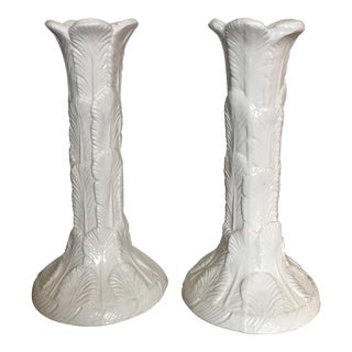 Mid-Century Italian White Palm Leaf Candle Holders-A Pair