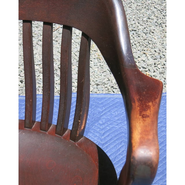 Industrial 1920s Antique Bankers Chair For Sale - Image 3 of 9