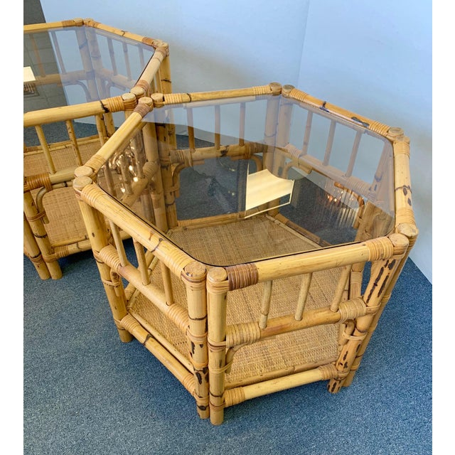 Wood 1960s Boho Chic Octagonal Rattan and Bamboo End Tables With Glass Tops - a Pair For Sale - Image 7 of 12