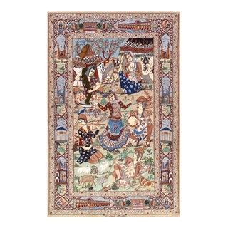 Modern Pasargad Persian Isfahan Korker Wool & Silk Rug - 4′4″ × 6′10″ For Sale
