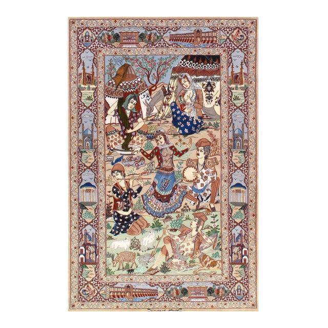 Modern Pasargad Persian Isfahan Korker Wool & Silk Rug - 4′4″ × 6′10″ For Sale