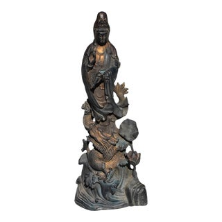 Late 19th Century Bronze Guan Yin on Dragon Statue For Sale