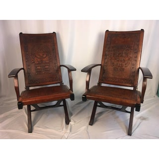 Mid Century Folding Leather Chairs - a Pair Preview