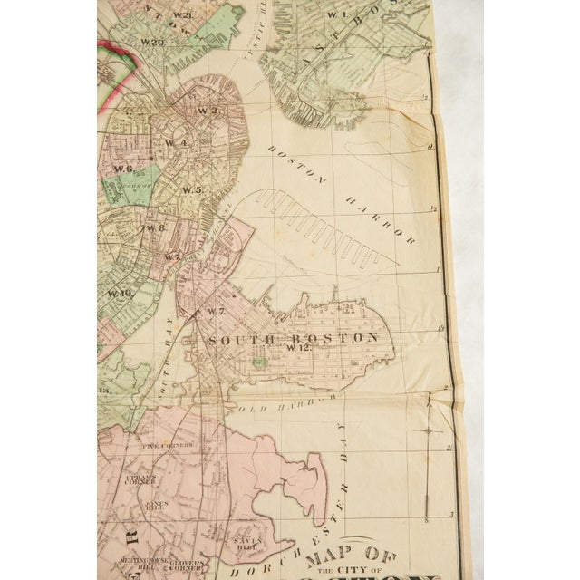Antique Folding Map of City of Boston and Its Environs 1874 For Sale - Image 4 of 11