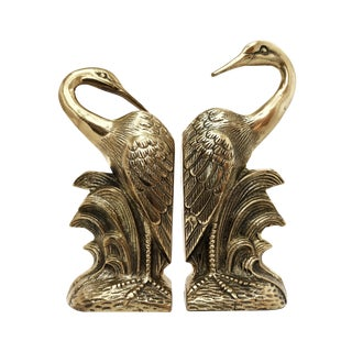 Vintage Brass Crane or Heron Bird Bookends - a Pair For Sale