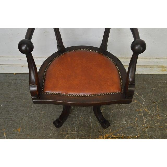 Orange Victorian Antique Mahogany Swivel Desk Chair For Sale - Image 8 of 13