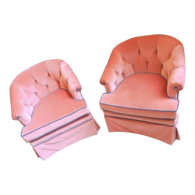 1950s Henredon Pink Velvet Club Chairs - A Pair - Image 3 of 7