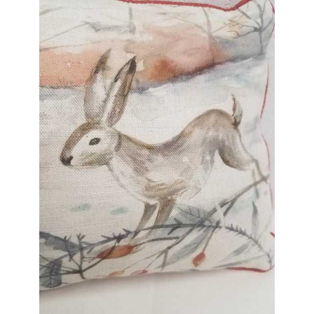 Two Rabbits in Winter Bolster Pillow - Made in Wales, United Kingdom For Sale In Dallas - Image 6 of 11