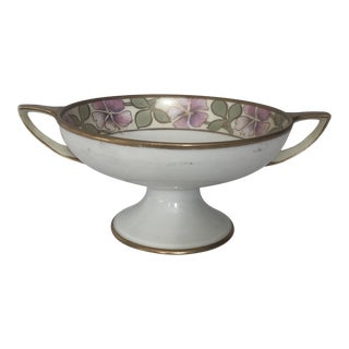 Mid 20th Century Nippon Pedestal Nut/Candy Dish With Handles For Sale