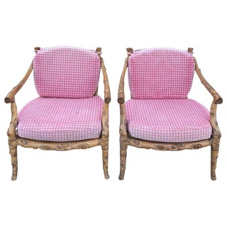 Arts & Crafts Style Carved Wooden Faux Bois Armchairs - a Pair For Sale