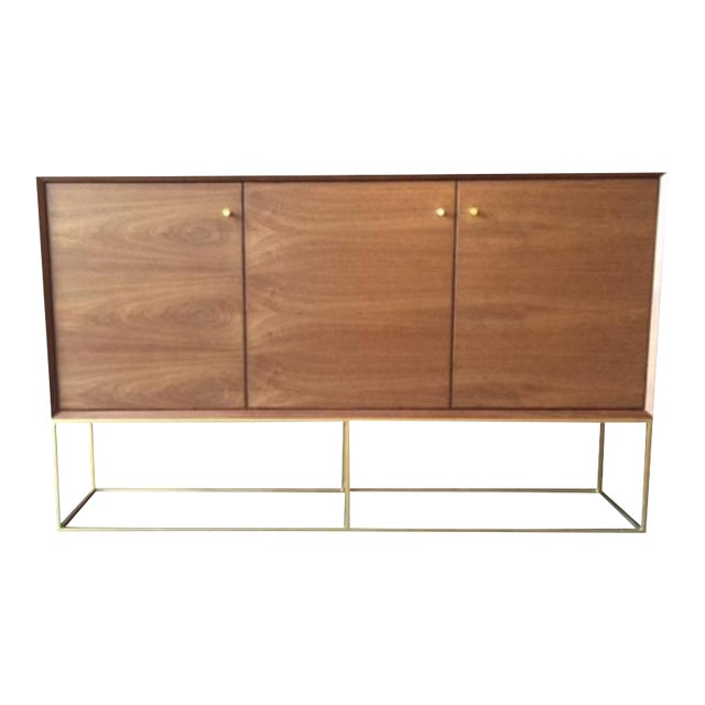 Custom Handmade Walnut Brass Base Credenza For Sale