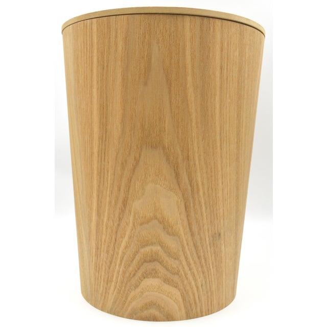 Japanese Bamboo Wood Waste paper Basket Bin With Lid Circular - Image 6 of 6