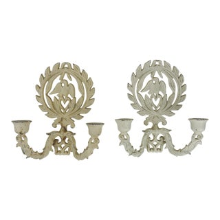 1940s Cast Iron Candelabra Sconces - a Pair For Sale