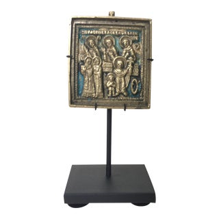 Late 18th Century Antique Bronze and Enamel Icon For Sale