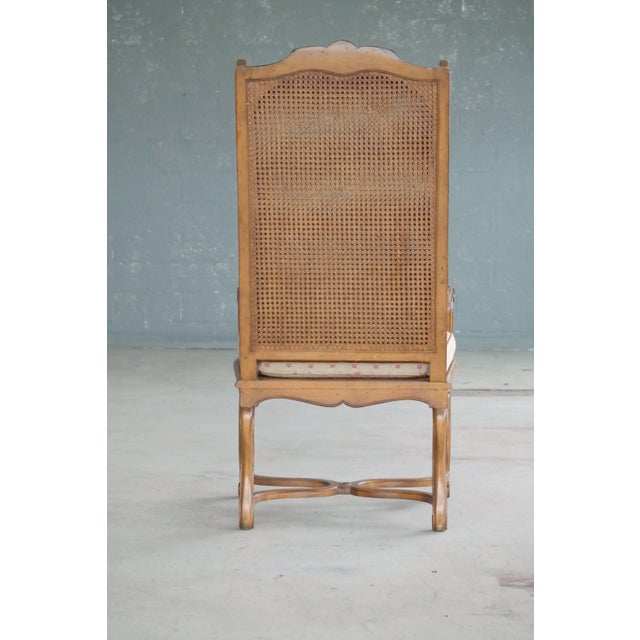 1920s Hollywood Regency Cane Wingback Chair For Sale - Image 9 of 10