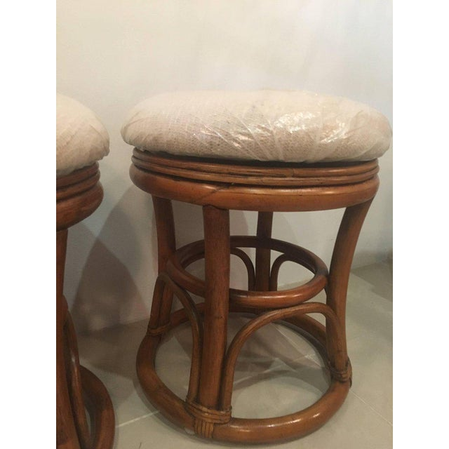 Rattan Vintage Tropical Palm Beach Rattan Stools Benches - a Pair For Sale - Image 7 of 10