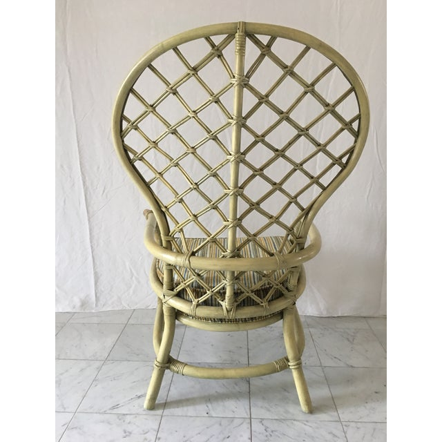 Vintage Green Rattan Fan Back Chair - Image 10 of 11